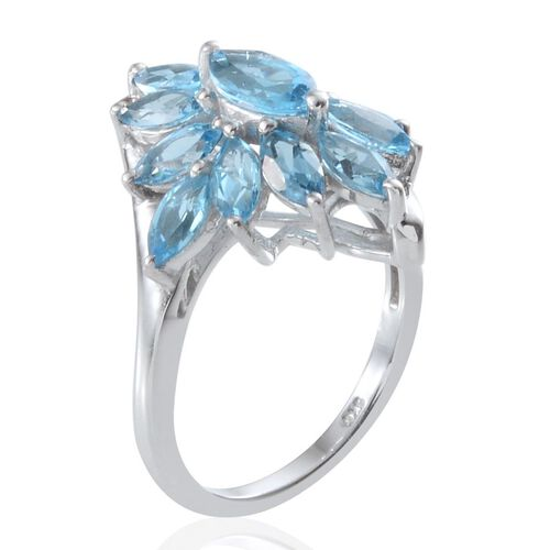 Electric Swiss Blue Topaz (Mrq 0.50 Ct) Ring in Platinum Overlay Sterling Silver 3.750 Ct.