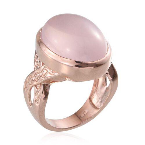 Rose Quartz (Ovl) Ring in Rose Gold Overlay Sterling Silver 18.000 Ct.