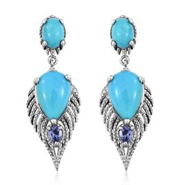 Arizona Sleeping Beauty Turquoise (Pear), Tanzanite Earrings (with Push Back) in Platinum Overlay Sterling Silver 7.000 Ct. Silver wt 6.06 Gms.