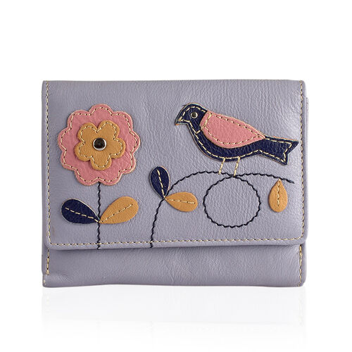 New Arrival - 100% Genuine Leather RFID Light Purple, Blue, Pink and Multi Colour Flower with Bird Design Purse (Size 12X9 Cm)