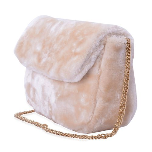 Faux Fur Beige Colour Crossbody Bag With Chain Strap (Size 24x19x10 Cm)