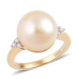 ILIANA 18K Yellow Gold AAA South Sea Golden Pearl (Rnd 13-14mm), Diamond (SI/G-H) Ring