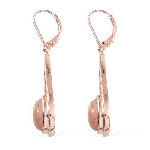 Morogoro Peach Sunstone (Ovl) Lever Back Earrings in Rose Gold Overlay Sterling Silve 6.000 Ct.