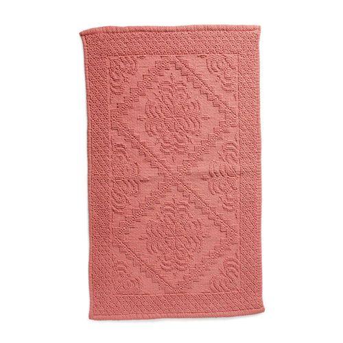 Bath Collection - 100% Cotton Pink Colour Geometrical Design Sculpted Bath Mat (Size 80X50 Cm)
