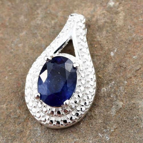 Masoala Sapphire (Ovl 8x6 mm) Solitaire Pendant in Sterling Silver 1.750 Ct.