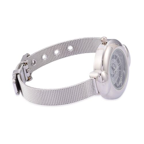 STRADA Japanese Movement Stardust Dial Water Resistant Watch in Silver Tone with Stainless Steel Back and Chain Strap