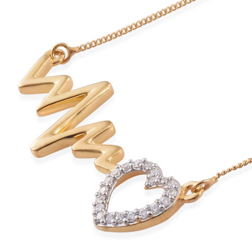 J Francis - Platinum and Yellow Gold Overlay Sterling Silver Heart Beat Necklace (Size 18) Made with SWAROVSKI ZIRCONIA
