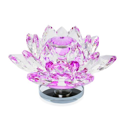 Home Decor - AAA Pink Austrian Crystal and Faceted Glass Rotating Lotus Flower (Size 14X5 Cm)
