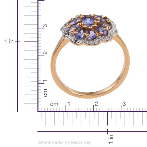 Tanzanite (Ovl), Diamond Ring in 14K Gold Overlay Sterling Silver 1.690 Ct.