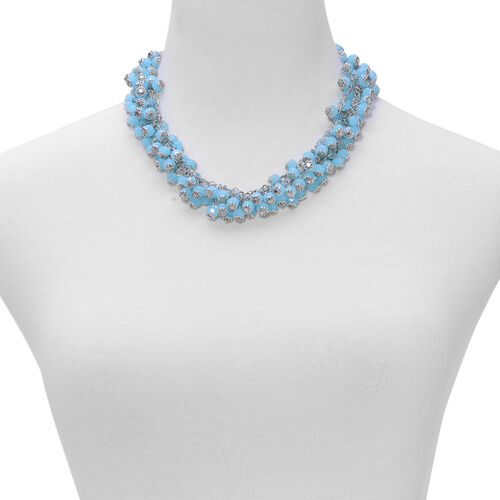 Simulated Aquamarine Necklace (Size 18 with 2 inch Extender) and Lever Back Earrings in Silver Tone