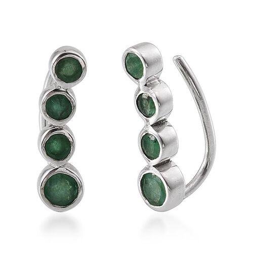 Kagem Zambian Emerald (Rnd) Climber Earrings in Platinum Overlay Sterling Silver 1.250 Ct.
