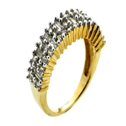 AAA Simulated White Diamond (Rnd) Ring in 14K Gold Overlay Sterling Silver