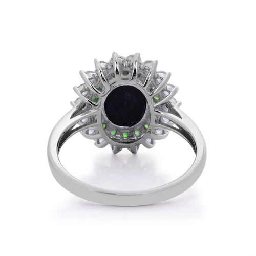 Tucson Collection Canadian Ammolite (Ovl 2.00 Ct), White Topaz and Russian Diopside Ring in Platinum Overlay Sterling Silver 3.058 Ct.