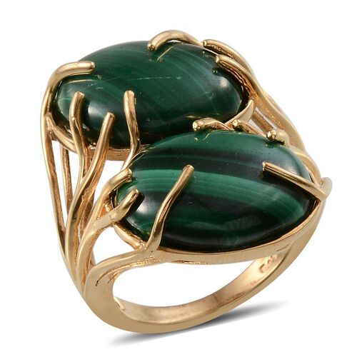 Malachite (Ovl) Ring in ION Plated 18K Y Gold Bond 27.000 Ct.