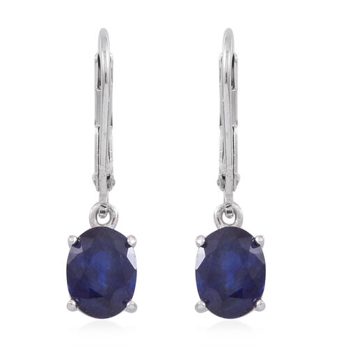 Masoala Sapphire  (Ovl) Lever Back Earrings in Rhodium Plated Sterling Silver 3.500 Ct.