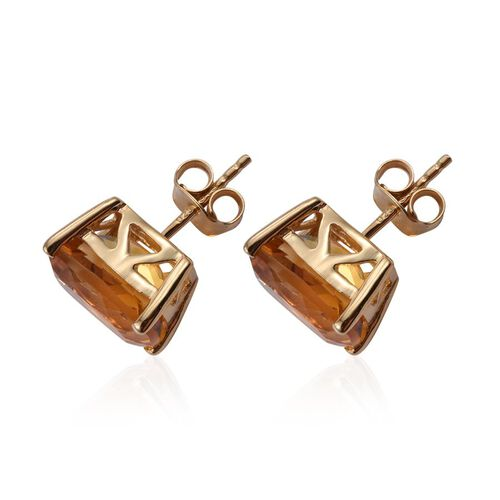 Citrine (Cush) Stud Earrings (with Push Back) in 14K Gold Overlay Sterling Silver 7.000 Ct.
