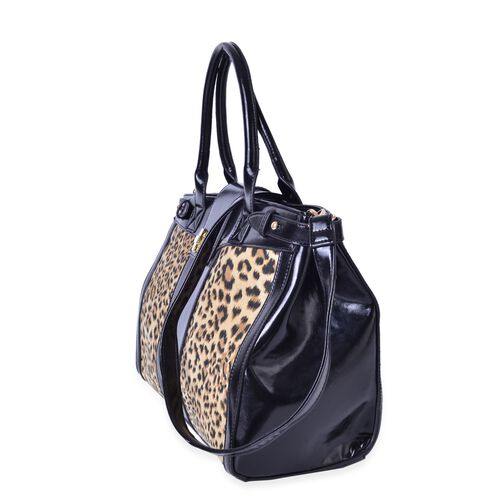 Wilton Leopard Pattern Tote Bag with External Zipper Pocket and Removable Shoulder Strap (Size 35.5x26x14 Cm)