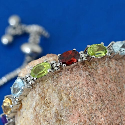 Designer Inspired-Mozambique Garnet (Ovl), Sky Blue Topaz, Hebei Peridot, Amethyst and Citrine Adjustable Bracelet (Size 6.5 to 8.5) 4.250 Ct.