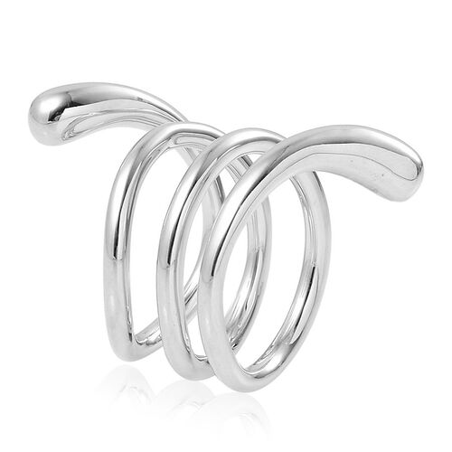 LucyQ Coil Midi Ring in Rhodium Plated Sterling Silver 10.86 Gms.