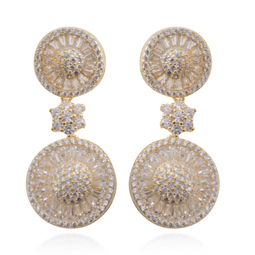 Signature Collection- Brilliant Cut ELANZA AAA Simulated Diamond Earrings (with Push Back) in 14K Gold Overlay Sterling Silver No. of Gemstone- 212