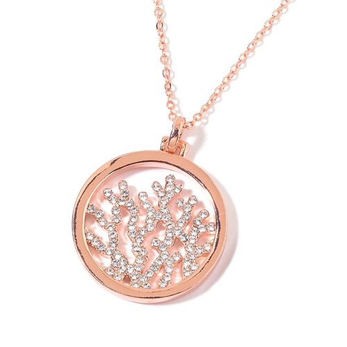 AAA White Austrian Crystal Circle of Life Pendant With Chain in Rose Gold Tone