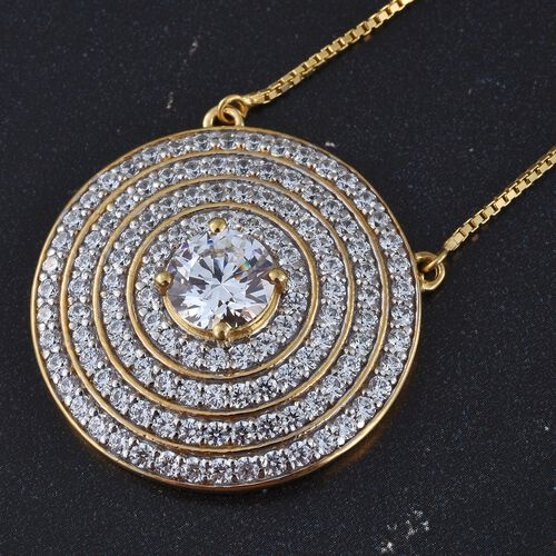 Limited Edition-J Francis - 14K Gold Overlay Sterling Silver (Rnd) Adjustable Necklace (Size 18) Made with SWAROVSKI ZIRCONIA, Number of Swarovski 123 Silver wt 11.62 Gms.