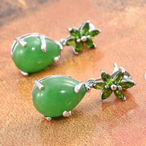 Green Jade (Pear), Russian Diopside Earrings (with Push Back) in Platinum Overlay Sterling Silver 14.000 Ct.