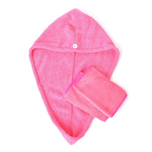 Set of 3 - Turbie Twist Hair Towel with Makeup Eraser - Fuchsia
