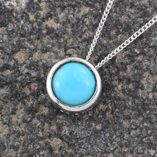 Arizona Sleeping Beauty Turquoise (Rnd) Solitaire Pendant with Chain in Platinum Overlay Sterling Silver 1.150 Ct.