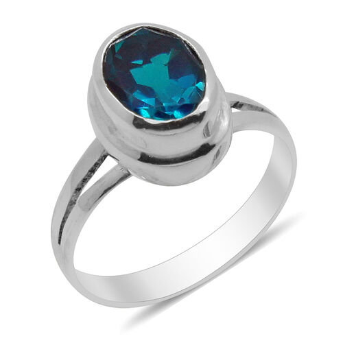 Royal Bali Collection Capri Blue Quartz (Ovl) Solitaire Ring in Sterling Silver 2.820 Ct.