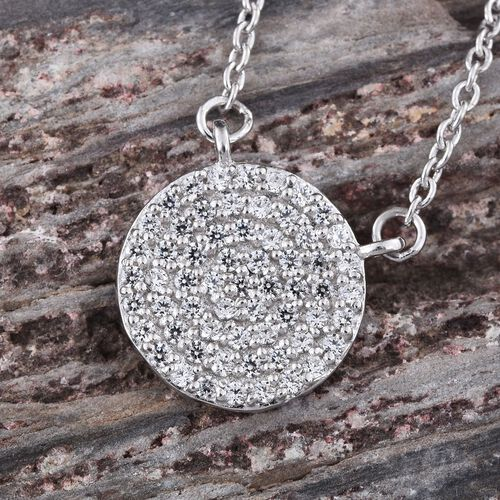 J Francis - Platinum Overlay Sterling Silver (Rnd) Pendant With Chain (Size 18) Made with SWAROVSKI ZIRCONIA