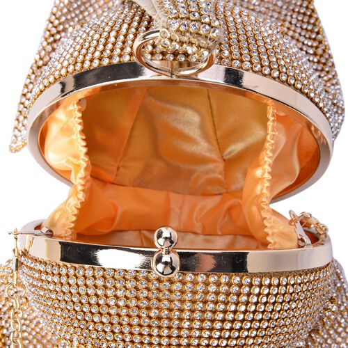 Limited Edition Waterfall White AAA Austrian Crystal Golden Clutch  (Size 12.5x12.5 Cm)