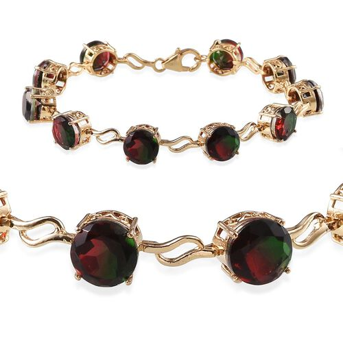 Tourmaline Colour Quartz (Rnd) Bracelet in 14K Gold Overlay Sterling Silver (Size 7) 22.000 Ct.