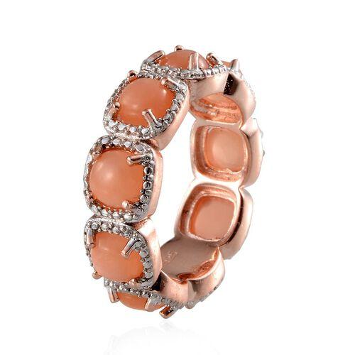 Mitiyagoda Peach Moonstone (Cush), Diamond Full Eternity Ring in Rose Gold Overlay Sterling Silver 9.020 Ct.