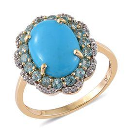 9K Y Gold AAA Arizona Sleeping Beauty Turquoise (Ovl 5.15 Ct), Paraiba Apatite and Natural Cambodian Zircon Ring 6.250 Ct.