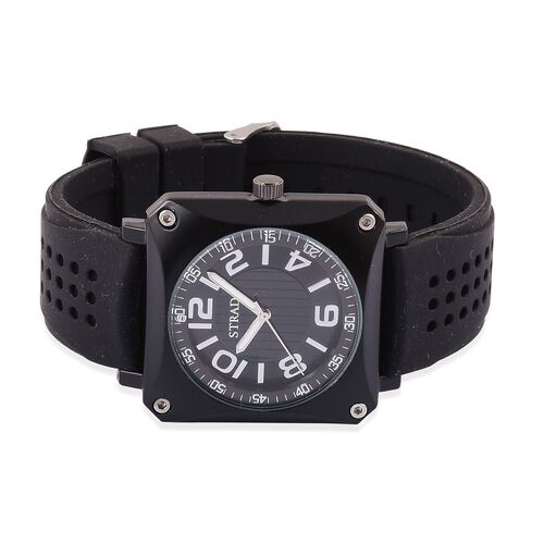 STRADA Japanese Movement Sunshine Dial Watch in Black Tone with Stainless Steel Back and Black Silicone Strap