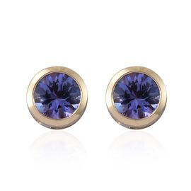 9K Yellow Gold 1 Carat AA Tanzanite (Rnd) Stud Earrings (with Push Back)