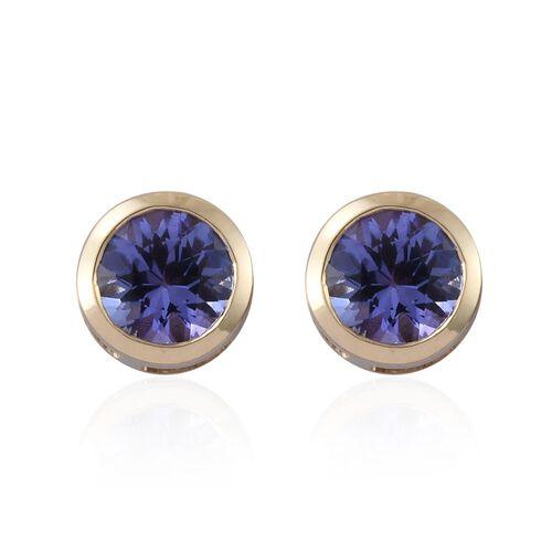 9K Yellow Gold 1 Carat AA Tanzanite (Rnd) Stud Earrings (with Push Back)