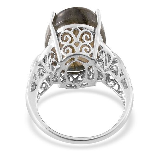 Labradorite (Ovl 17.25 Ct), White Topaz Ring in Platinum Overlay Sterling Silver 17.350 Ct.