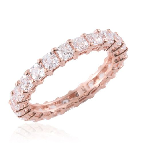 J Francis - Asscher Cut Rose Gold Overlay Sterling Silver (Oct) Full Eternity Ring Made with SWAROVSKI ZIRCONIA