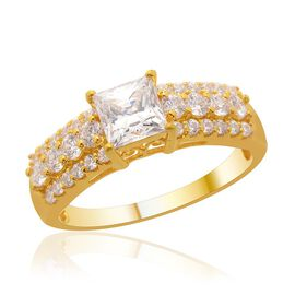 J Francis - 14K Gold Overlay Sterling Silver (Sqr) Ring Made with SWAROVSKI ZIRCONIA  2.080 Ct.