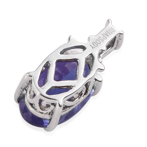 RHAPSODY 950 Platinum AAAA Tanzanite (Ovl), Diamond (VS E-F) Pendant 3.500 Ct.