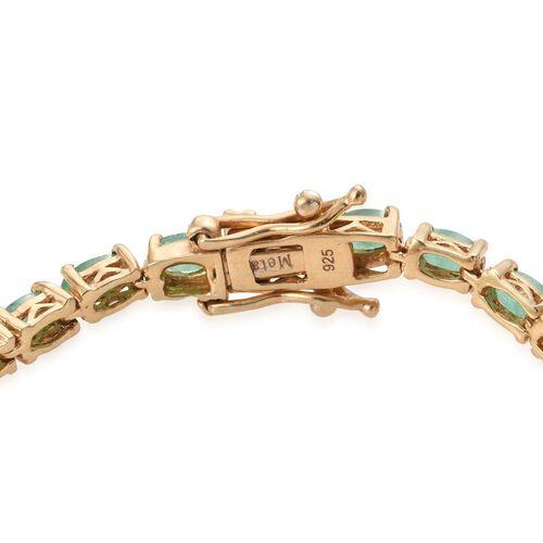 AA Kagem Zambian Emerald (Ovl) Bracelet (Size 7.5) in 14K Gold Overlay Sterling Silver 7.500 Ct.
