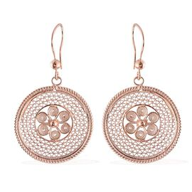 Rose Gold Overlay Sterling Silver Floral Hook Earrings, Silver wt 6.29 Gms.