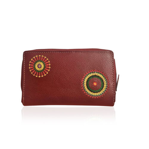 100% Genuine Leather RFID Blocker Red, Yellow and Multi Colour Hand Embroidered Circular Design Wallet with Multiple Card Slots (Size 12X8X3 Cm)