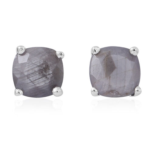 Natural Silver Sapphire (Cush) Stud Earrings (with Push Back) in Rhodium Plated Sterling Silver 3.000 Ct.