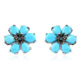 Arizona Sleeping Beauty Turquoise (Pear), Blue Diamond Floral Stud Earrings (with Push Back) in Platinum Overlay Sterling Silver 2.000 Ct.