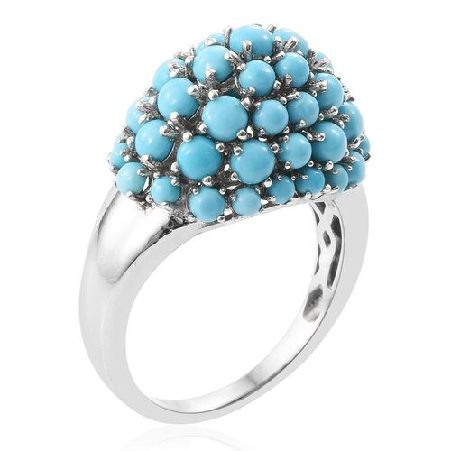 Arizona Sleeping Beauty Turquoise (Rnd) Cluster Ring in Platinum Overlay Sterling Silver 3.870 Ct.