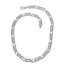 Vicenza Collection- Sterling Silver Double Link Figaro Chunky Necklace (Size 20), Silver wt. 35.88 Gms.