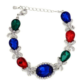 Multi Colour Glass, White Austrian Crystal Bracelet in Silver Tone (Size 6.5 with Extender)